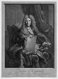 bildnis des malers pierre mignard (after hyacinthe rigaud) (+ 5 others; 6 works) by georg friedrich schmidt