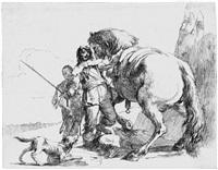 varj capricci (drei soldaten und ein junge; nymphe mit kleinem satyr und zwei ziegen; der reiter neben seinem pferd stehend) (3 works) by giovanni battista tiepolo