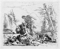 donna con le braccia incatenate e quattro figure (die frau mit den gebundenen händen und vier weiteren figuren) by giovanni battista tiepolo