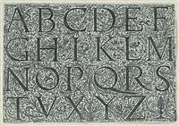 alphabet in römischen majuskeln mit fig.-floralen hintergrundverzierungen by daniel hopfer