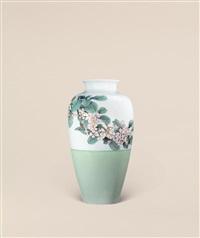 高温釉花卉纹萝卜瓶 (flower) by wang ying