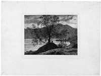 slinderbjerke - kleine landschaft an einem see by thomas fearnley