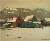 snowlandscape with houses by jacobus jan koeman