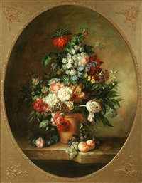 still life of flowers on a marble ledge by francois gabriel