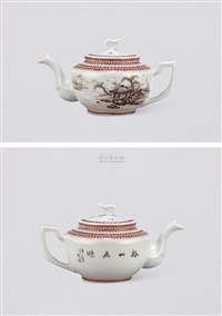 粉彩山水茶壶 (landscape teapot) by wang xiaoting