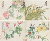 花鸟 (四帧) (4 works) by tang shishu