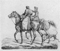 acht blätter pferde und hunde geätzt von franz krüger (8 works) by franz krüger