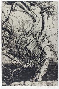 annettchen ist in amerika, ich liebe sie. 8.8.86. bl. aus der folge laokoon - die bäume der annette by horst janssen