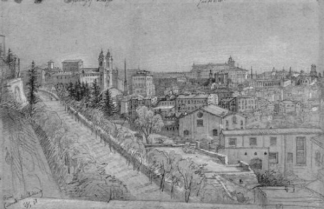blick auf rom vom monte pincio aus links trinità del monte im hintergrund der quirinal by julius jacob the elder