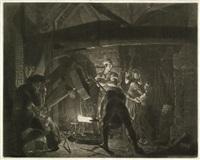 an iron forge - der eisenhammer (after joseph wright of derby) by richard earlom