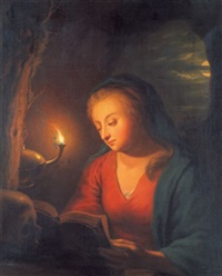 die hl. maria magdalena in der grotte (after godfried schalcken) by julie lisiewski