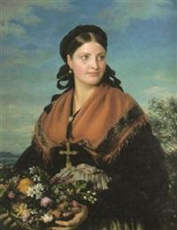 weibliches bildnis: in italienischer tracht (landmädchen aus der umgegend von nizza) by eduard magnus