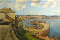 a view of the harbor at newlyn, england by joseph edward hennah