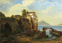 a view of a farmhouse by a lake by marie von kendell