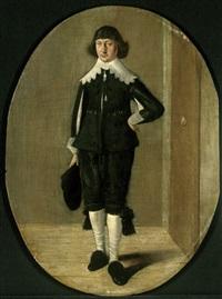 porträt eines stehenden kavaliers mit spitzenkragen by gerard van donck