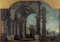 venezianisches capriccio mit säulenportikus by bernardo bellotto