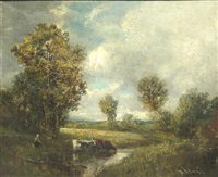 a landscape with cows by a stream by frederick j. sang