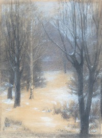 snowy path by john henry twachtman