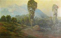 eucalyptus by a river with mountains beyond by edward fournier