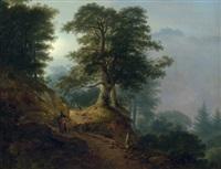 landschaft mit reiter und wanderern auf einem waldweg (morgendlandschaft aus dem riesengebirge) by friedrich georg weitsch