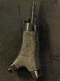 pulverhorn mit figürlichem schmuck by eugen hess