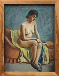 portrait of a seated nude reading by charles pollock