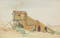 old mine; desert homestead (2 works) by clyde forsythe