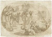 biblische szene, bei der ein engel einer heiligen erscheint, im vordergrund ein monster by giulio benso