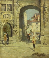 arches in the old town square by colin campbell cooper