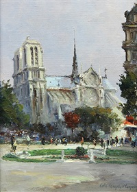 view of notre dame, paris, france by colin campbell cooper