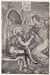 der hl. hieronymus mit dem engel by hans sebald beham