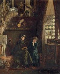 flämisches interieur mit zwei damen im gespräch by rudolf von voigtländer