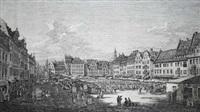 vue de la grande place du vieux marché, du cote de la rue du chateau royal by bernardo bellotto