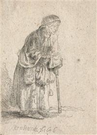 bettlerin auf einen stock gestützt by rembrandt van rijn