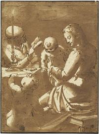 die heilige familie mit johannes der täufer bei kerzenschein by giovanni battista paggi