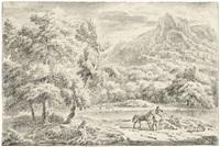 weite landschaft mit zwei reitern by dirk maes