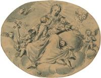 caritas, auf einer wolke sitzend by friedrich sustris