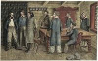 offiziere in einer stube beim würfelspiel by anton wilhelm strack