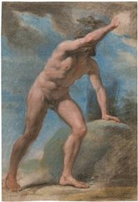 aktstudie eines antiken kriegers mit erhobenem linkem arm by pietro benvenuti