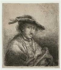 ein junger mann mit federgeschmücktem hut by ferdinand bol