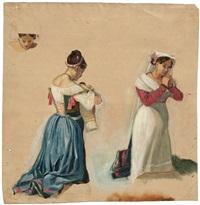 studie zweier betender junger frauen in italienischen kostümen by hans ditlev christian martens