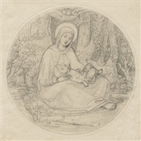 maria mit dem kinde unter bäumen sitzend (+ zwei engel im kahn mit einem kind; 2 works) by carl gottlieb peschel