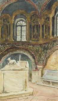 blick in die kirche von ravenna by albert anker