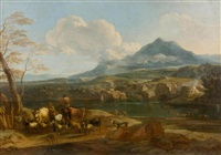 foothills with river and peasants with cattle by nicolaes berchem