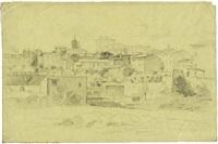 eine gruppe von häusern in rom, im hintergrund die kirche san carlo alle quattro fontane by théodore claude félix caruelle d' aligny
