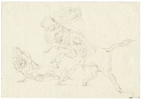 drei jünglinge im kampf mit einem stier by bonaventura genelli