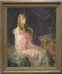 woman in a pink robe by walter g. ratterman