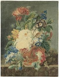 blumenstilleben mit rosen, kornblumen und rittersporn dazu insekten und vogelnest by cornelia maria haakman