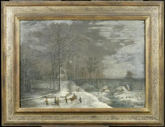 winterliche landschaft mit personen beim schlittschuhlauf by denis van alsloot