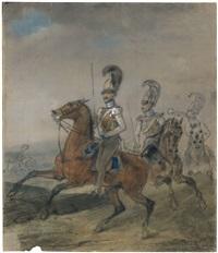 reiterbildnis des oberst von krafft mit seinen offizieren des gardekürassier-regiments by franz krüger